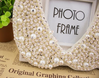Handmade Ivory Pearl , Sequin, Crystal Bead and  Rhinestone Peter Pan Collar Necklace