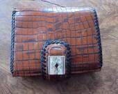 Brighton Medium Wallet Brown Croco Rose Fabric