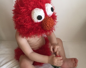 Handmade crochet Elmo inspired outfit, elmo costume photo prop, baby elmo Halloween costume, crochet baby elmo outfit