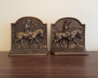 Vintage Equestrian Bronze Bookends Horse Theme