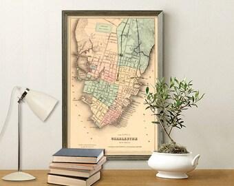 "Charleston map -Antique map - Historic map print -  Vintage  city map Print - 16 x 25"""