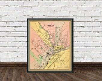 Bangor map - Vintage map of Bangor (Maine) -  reproduction