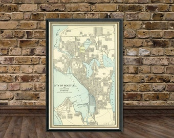 Vintage map of Seattle  - Antique Seatle city map Print - 16 x 25 ""