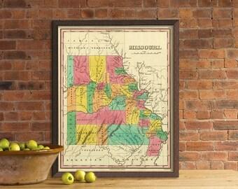 Map of Missouri  -  Wonderful reproduction of Missouri map  -  giclee print
