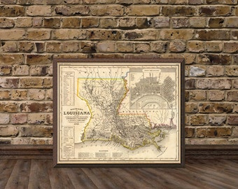Louisiana  map - Vintage map of Louisiana  fine reproduction - Old maps restored