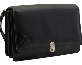 Vintage, Black Leather Handbag, Purse, Shoulder Bag