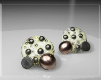 mixed metal mismatched stud earrings with hot enamel, polka dot, contemporary jewelry, dotted earrings