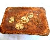 Rose design molded wood tray from Multi Products Inc 1944 dated vintage