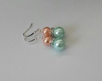 Peach and Mint Green Pearl Rhinestone Earrings