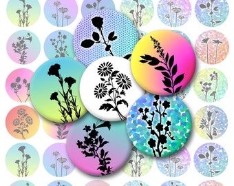 Flower Silhouettes Printable 1-Inch Circles / Bottlecap Images / 5 Sheets of Flowers / Digital Collage / Instant Download
