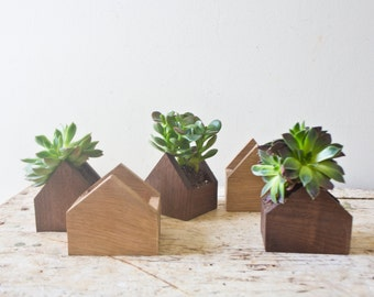 Set of 5 Tiny House Shaped Plant Box - Walnut Natural Wood Pot Succulent Planters Wooden Planter Centerpiece Handmade Weddings