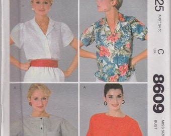 McCall's 8609 Misses' Tops Pattern, UNCUT, SIze 8, Vintage 1983, Blouse, Button Down Front, Summer, Retro, Flashback, Casual, Fun