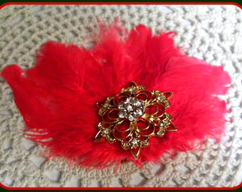 Holiday Snowflake Coral Red Feather Fascinator Hair Clip