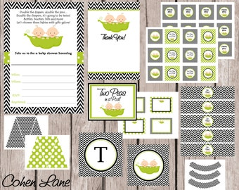 INSTANT DOWNLOAD Printable Two Peas In A Pod Theme Baby Shower Party Package. Twins Baby Shower Party Package. Twins Printables and Chevron.