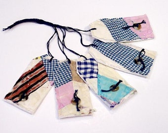 Patchwork Fabric Tags, Prim Feedsack Quilt Wedding Shower Everyday All Occasion Hang Tags, Place Cards, Organizing Labels itsyourcountry