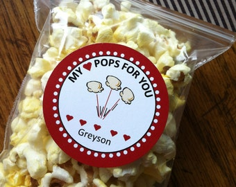 Valentine's Day Party Popcorn Favor Tags Instant Download