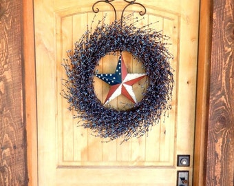 Summer Wreath-PATRIOTIC STAR Wreath-Juy 4th Wreath-Large Wreath-Primitive Country Wreath-4th of July Door Decor-Home Decor-Choose Scent