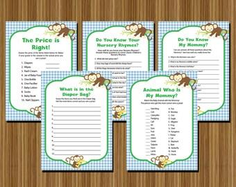 Monkey Baby Shower Games INSTANT DOWNLOAD Printable - DIY Blue Green Gingham