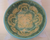 Thrown Stoneware Pottery Salad Serving Bowl in Turquoise and Green with Lace Pattern