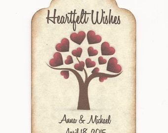 100  Wedding Wish Tags-HEARTFELT Wishes- Wedding Favors- Escort Cards - Wish Tree Tags
