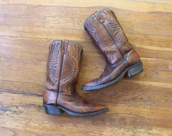 Size 11 1/2 / 10 Men's Cowboy Boots / Vintage Dark Sienna Leather Boots / Size 10 Men's Western Shoes / 11 1/2 Women's