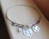 Personalized Bangle Initial Date Bride Wedding Anniversary Silver Cuff Adjustable Gift for Bridal Shower