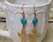 Turquoise Magnesite  Dangle Earring Fun and Flirty Cross Heart Earrings