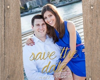 Gold Foil Photo Save the Date- Digital