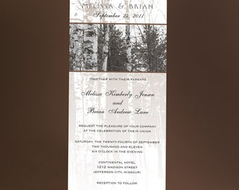 Tree Wedding Invitations with Bare Birch Trees, Winter Trees, Winter Wonderland Wedding. You Choose The Color Accent