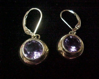 Pair of Vintage Amethyst Earrings, Faceted,  4 Carat Total Weight, 8MM, 14K Yellow Gold, Gold Leverbacks