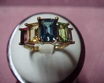 Vintage Multigem Ring,Amethyst,Peridot,Blue Topaz,Citrine,Garnet,Emerald Cut,4 CTW,14K YG