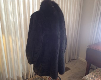 Black Mink Coat with Fox Collar Size 8 - 10 Beautiful!