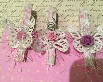 SHabby Chic Altered Clothes Pins