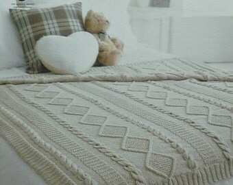 K4145 2 Styles of Textured and Cable Throws/Blankets Knitting Pattern Aran (Fisherman) King Cole