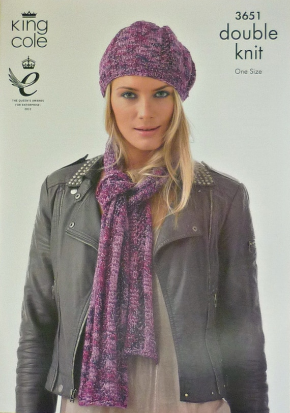 King Cole Knitting Pattern Stockists : Womens Knitting Pattern K3651 Knitting Pattern Ladies Beret and Textured Scar...
