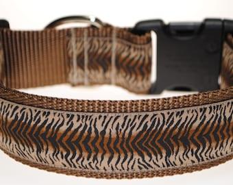 "Zebra - Brown, Black, and Tan - Adjustable 1 1/2"" Wide Dog Collar"