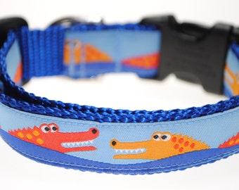 """Alligators on Blue - 3/4"""" Adjustable Dog Collar"""