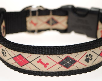 """Dog Argyle Tan, Red, and Black 1"""" Adjustable Dog Collar - Also available as a Martingale"""