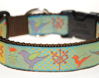 "Birds and Trees 1"" Wide Adjustable Dog Collar"