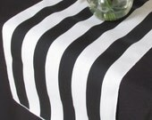 Sale Sale Sale - White and black stripe table runner - white edge - Select A Size - READY TO SHIP