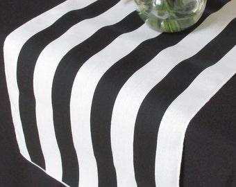 Black And White Striped table runner - white edge - Select A Size - Sale Sale Sale -  READY TO SHIP