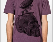 Unique Thoughts Take Flight Men's T Shirt  Vintage Abstract Steampunk Zeppelin Skull Science American Apparel Tee XS, S, M, L, XL