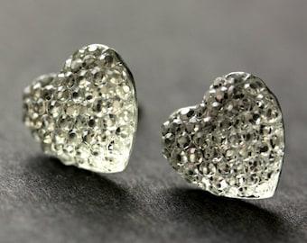 Sparkling Heart Earrings. Silver Heart Earrings. Post Earrings. Shimmering Heart Earrings Stud Earrings. Handmade Earrings. Handmade Jewelry
