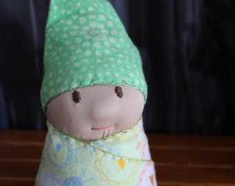 Waldorf Baby Doll, Swaddled Doll for Children--Sweet Pea