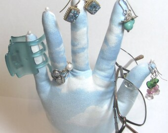 Blue Sky Soft Clouds Fabric Hand Jewelry Display POPULAR HAND-Stand