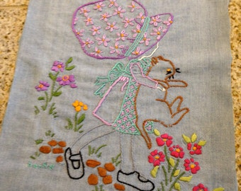 crewel embroidery Holly Hobbie Like Girl in a bonnet holding kitten picture patchwork daisy look vintage