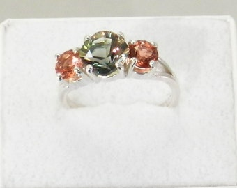 Oregon Sunstone Ring  Green and Red 3 stone.    #304