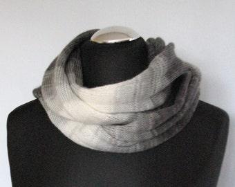 Gray Striped Infinity Scarf Cowl Wrap Black Dark Gray White