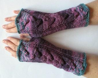 Fingerless Gloves wrist warmers Violet Purple Blue Burgundy Green knit