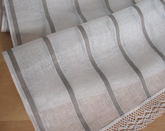 "Linen Table Runner Tablecloth Natural White Gray Striped Linen Lace 86"" x 20"""